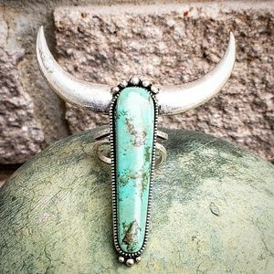 Bull Design Turquoise Adjustable Cuff Ring